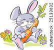 Funny cartoon rabbit, holding carrot. Artistic  vector illustration. - stock vector