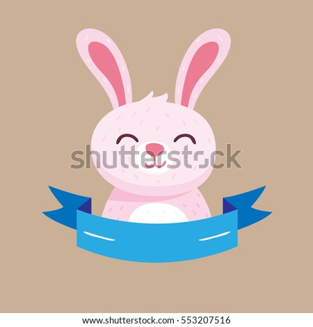 Funny cartoon rabbit ornament design. Vector illustration. Easter style