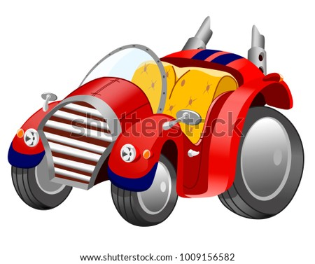 Funny cartoon retro car on white background, vector illustration