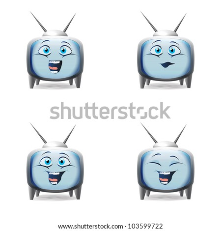 Funny cartoon retro TV kid character mimics isolated over white - stock vector