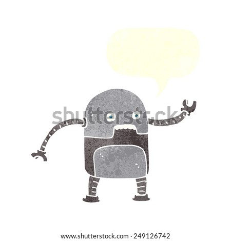 funny cartoon robot with speech bubble - stock vector