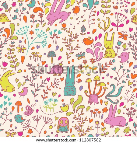 Funny cartoon seamless forest pattern for children background. Rabbits, birds, hedgehog, mushrooms, owl and butterflies - stock vector