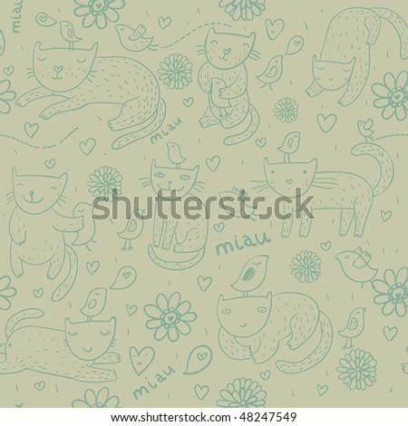 Funny cartoon seamless pattern in green - stock vector