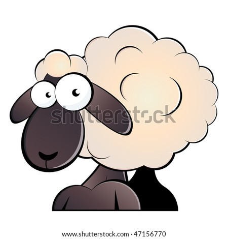 funny cartoon sheep - stock vector