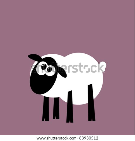 Funny cartoon sheep staring, vector illustration - stock vector