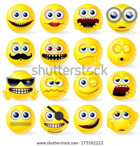 Funny Cartoon Smileys. Collection of Detailed Yellow Vector Emoticon Balls - stock vector