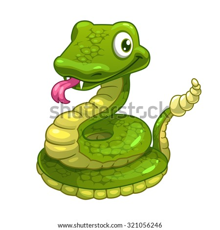 Funny cartoon smiling green snake, isolated vector illustration - stock vector