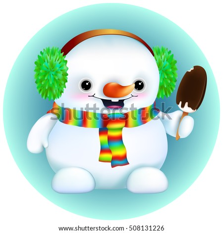 funny cartoon snowman in furry earmuffs,rainbow scarf. With ice cream on a stick