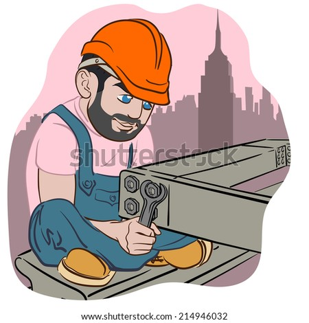 Funny cartoon style construction worker with a spanner joining steel beams of a building frame. EPS8 vector illustration. - stock vector