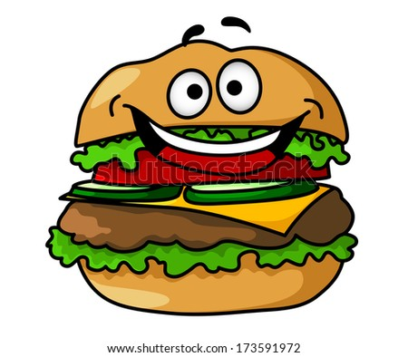 Funny cartoon tasty hamburger logo with smiley face, containing ground meat, tomato, salad, cheese, pickles, isolated on white background - stock vector