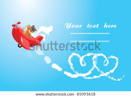 Funny cartoon. Teddy bear aviator in love. Pilot by the red plane draws hearts in the sky - stock vector