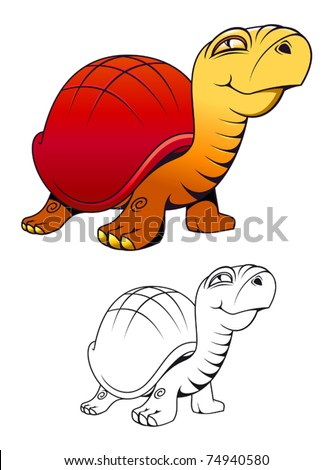 Funny cartoon turtle for mascot or tattoo isolated on white. Jpeg version also available in gallery - stock vector