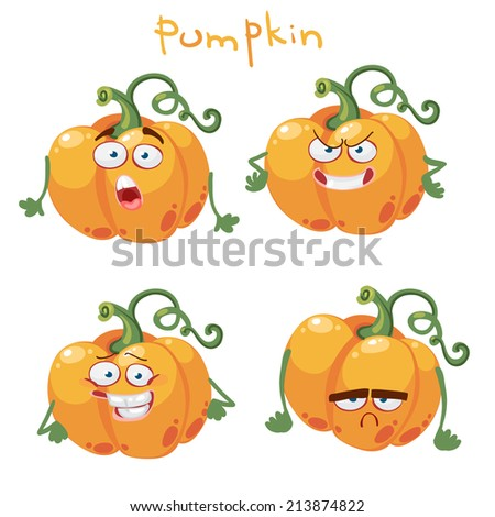 Funny cartoon vegetable pumpkin - stock vector