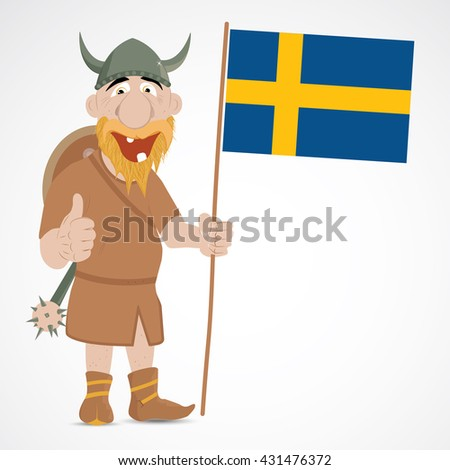Funny cartoon viking with thump up and holding Sweden flag