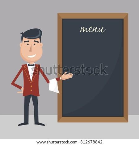 Funny cartoon waiter with menu. Flat vector illustration. EPS 10. - stock vector