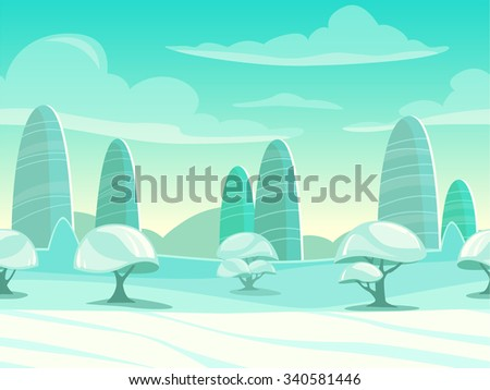 Funny cartoon winter landscape, seamless background for game design - stock vector