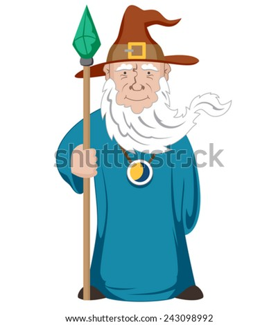 Funny cartoon Wizard with stick. Vector Illustration - stock vector