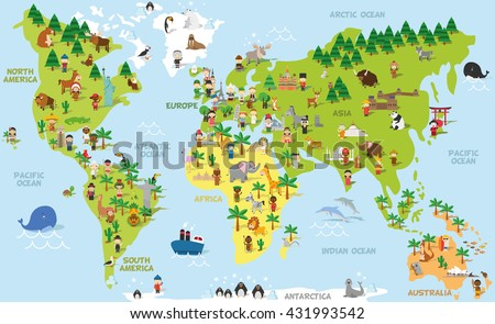 Funny cartoon world map children different vectores en stock funny cartoon world map with children of different nationalities animals and monuments of all the gumiabroncs Choice Image