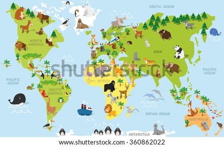 Funny cartoon world map with traditional animals of all the continents and oceans. Vector illustration for preschool education and kids design - stock vector
