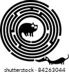 Funny cat, dog and round maze - stock vector