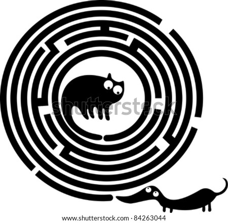 Funny cat, dog and round maze