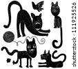 funny cat set - stock vector