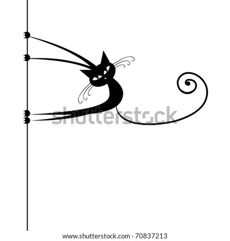 Funny cat silhouette black for your design - stock vector