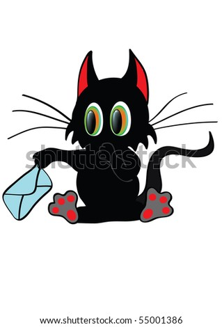 Funny cat with envelope - stock vector