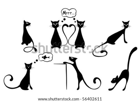 Funny cats - stock vector
