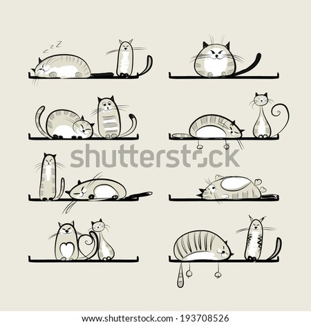 Funny cats on shelves for your design - stock vector