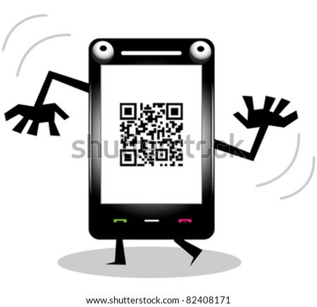 Funny cell phone with QR code - stock vector