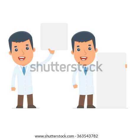 Funny Character Doctor holds and interacts with blank forms or objects. for use in presentations, etc.