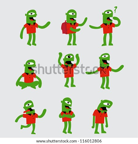 funny character in different poses