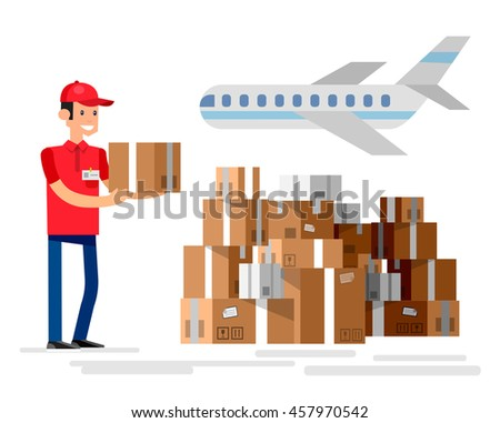 Funny character man. Delivery fast to the door and by courier - stock vector