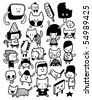 Funny characters and doodles collection. Vector illustration. - stock photo