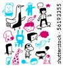 Funny characters collection. Vector illustration. - stock vector