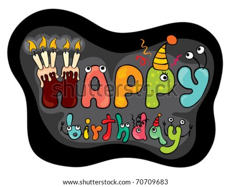 "Funny characters ""Happy Birthday"" - stock vector"