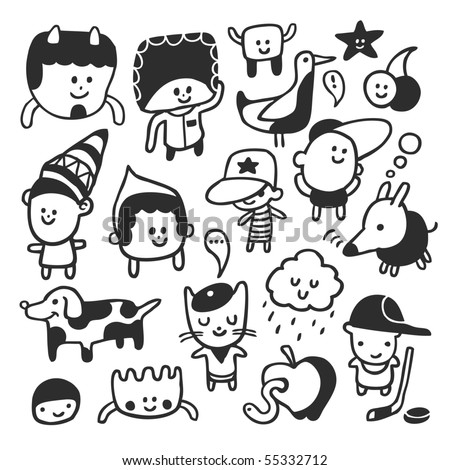 Funny characters set. Vector illustration. - stock vector