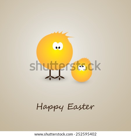 Funny Chicken Egg - Happy Easter Card - stock vector