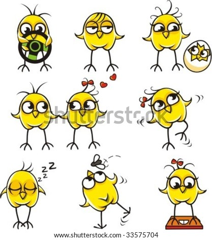 Funny chickens individually grouped for easy copy-n-paste. - stock vector