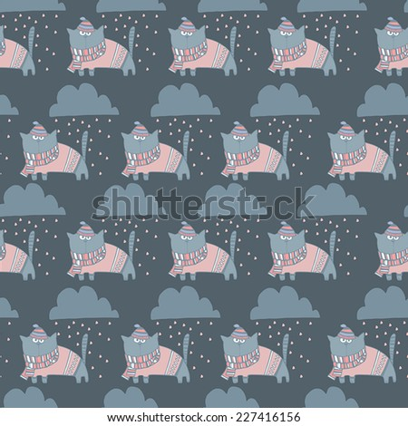 Funny childish cartoon background with clouds and cat. Seamless pattern - stock vector