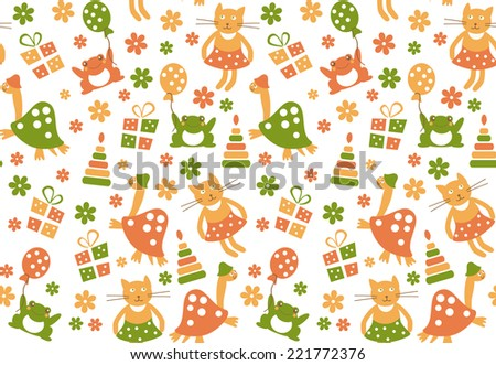 Funny childish seamless pattern in bright popular colors. Cats, turtles and frogs in flowers, vector - stock vector