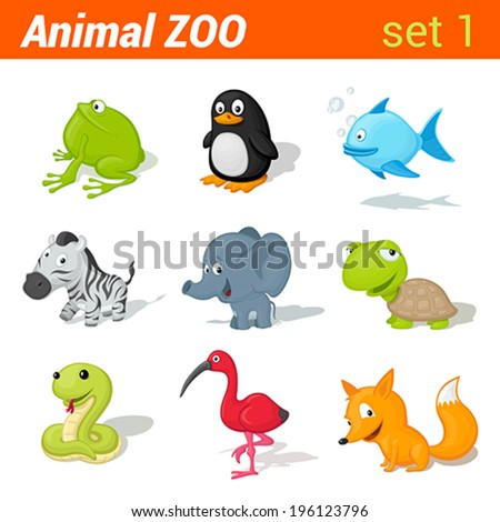 Funny children animals icon set. Kid language learning elements. Frog, penguin, fish, zebra, elephant, turtle, snake, ibis bird, fox.  Animal Zoo collection. - stock vector