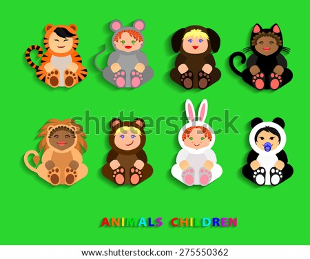 Funny children in animal costumes. Vector Illustration - stock vector