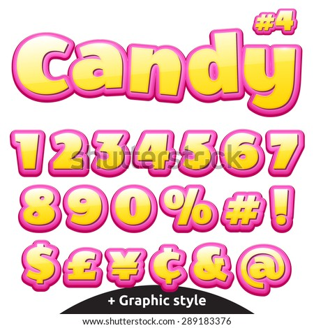 Funny children's candy letters. Numbers, currency signs and special symbols. - stock vector