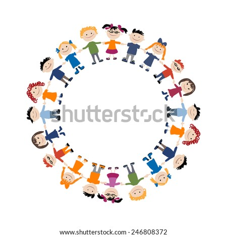 Funny children, sketch for your design. Vector illustration - stock vector