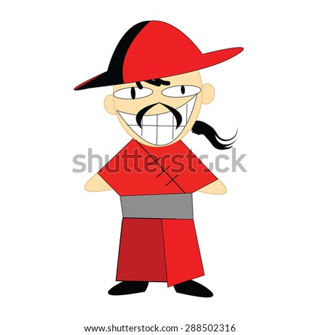 funny chinese man cartoon character