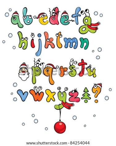 Funny Christmas Alphabet - stock vector