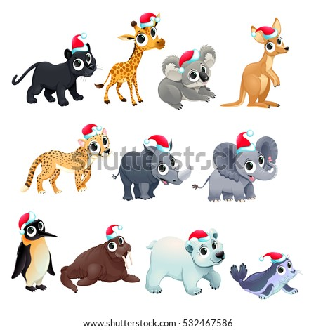 Funny Christmas animals. Vector isolated elements.