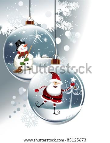Funny Christmas balls - stock vector